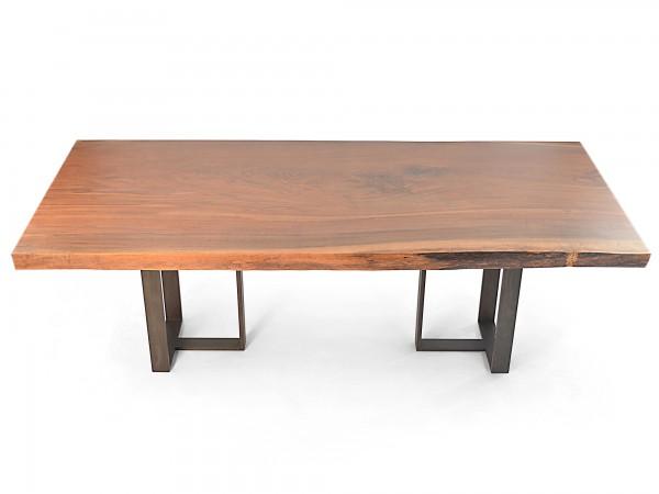 Rotsen-Furniture-Miami-Interior-Design-Single Slab Walnut Dining Table - Metal Base Rotsen Furniture 01