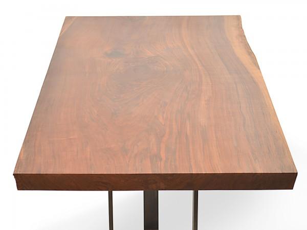 Rotsen-Furniture-Miami-Interior-Design-Single Slab Walnut Dining Table - Metal Base Rotsen Furniture 05