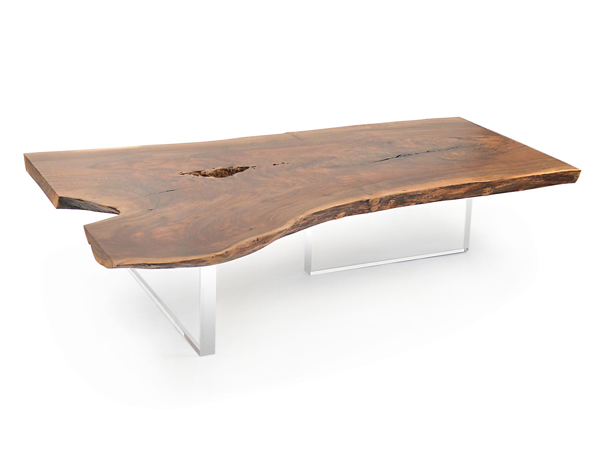 Live Edge Claro Walnut Coffee Table - Acrylic Base 002 - 05