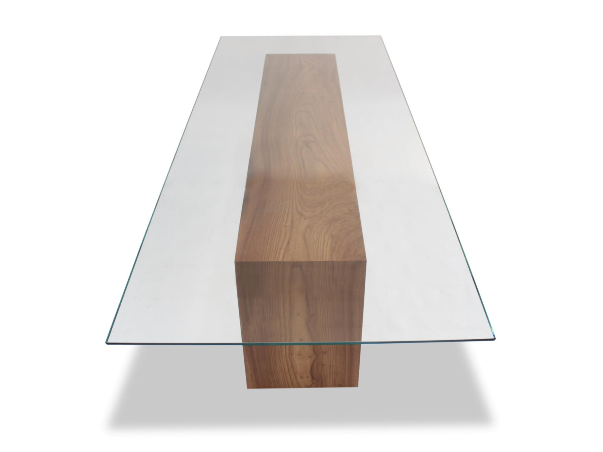 Rotsen Glass Top & Solid Elm Wood Dining Table 01