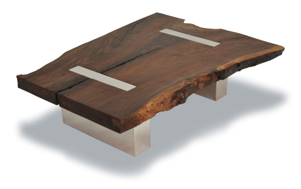 Rotsen Walnut Coffee Table - Polished Aluminum Legs 01