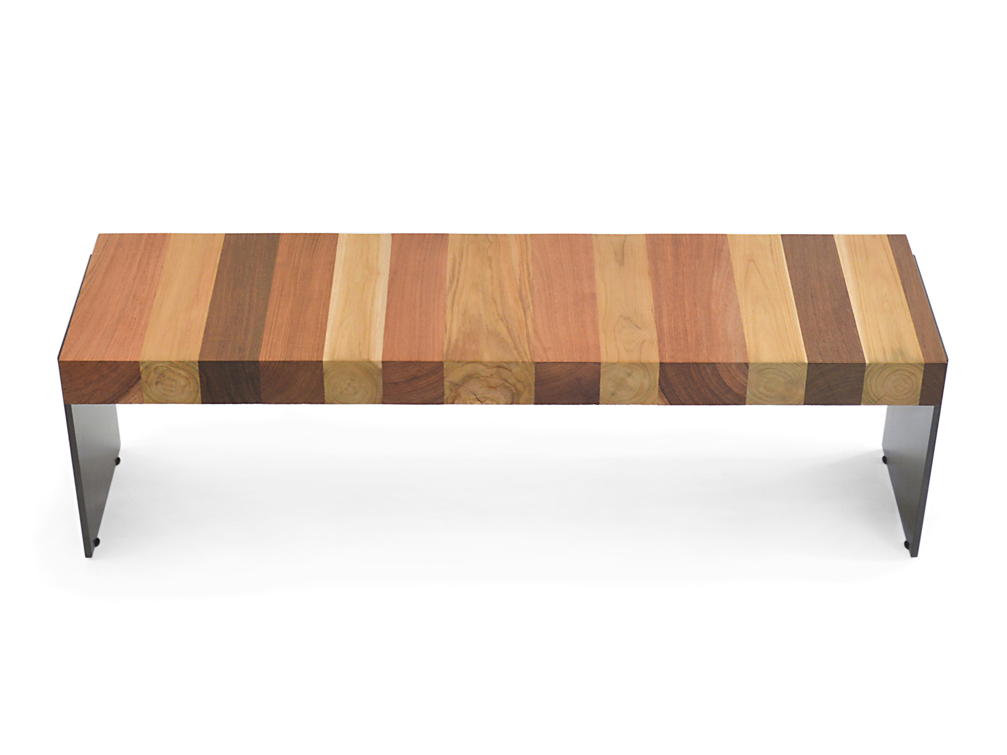 Solid Harwood Bench – Metal Base