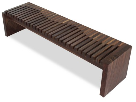 Walnut and Teak Contemporary Wood Bench - Rotsen Furniture 01